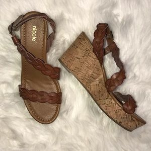 Nicole Brown Wedge Sandals Size 6.5M NWOT